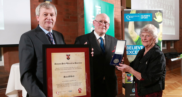 Sean O'Neill honoured with GAA award at Queen's