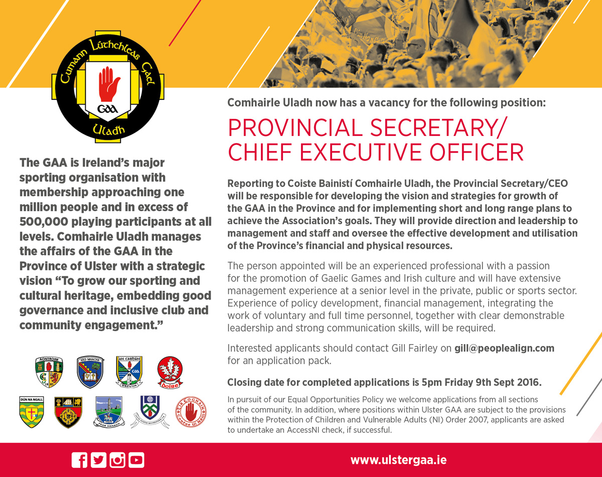 Comhairle Uladh seeking to recruit Provincial Secretary/Chief Executive Officer