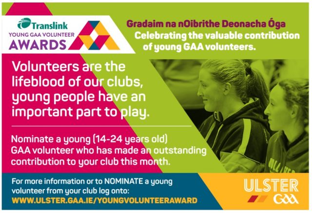 Ulster GAA & Translink launch new initiative to recognise young volunteers