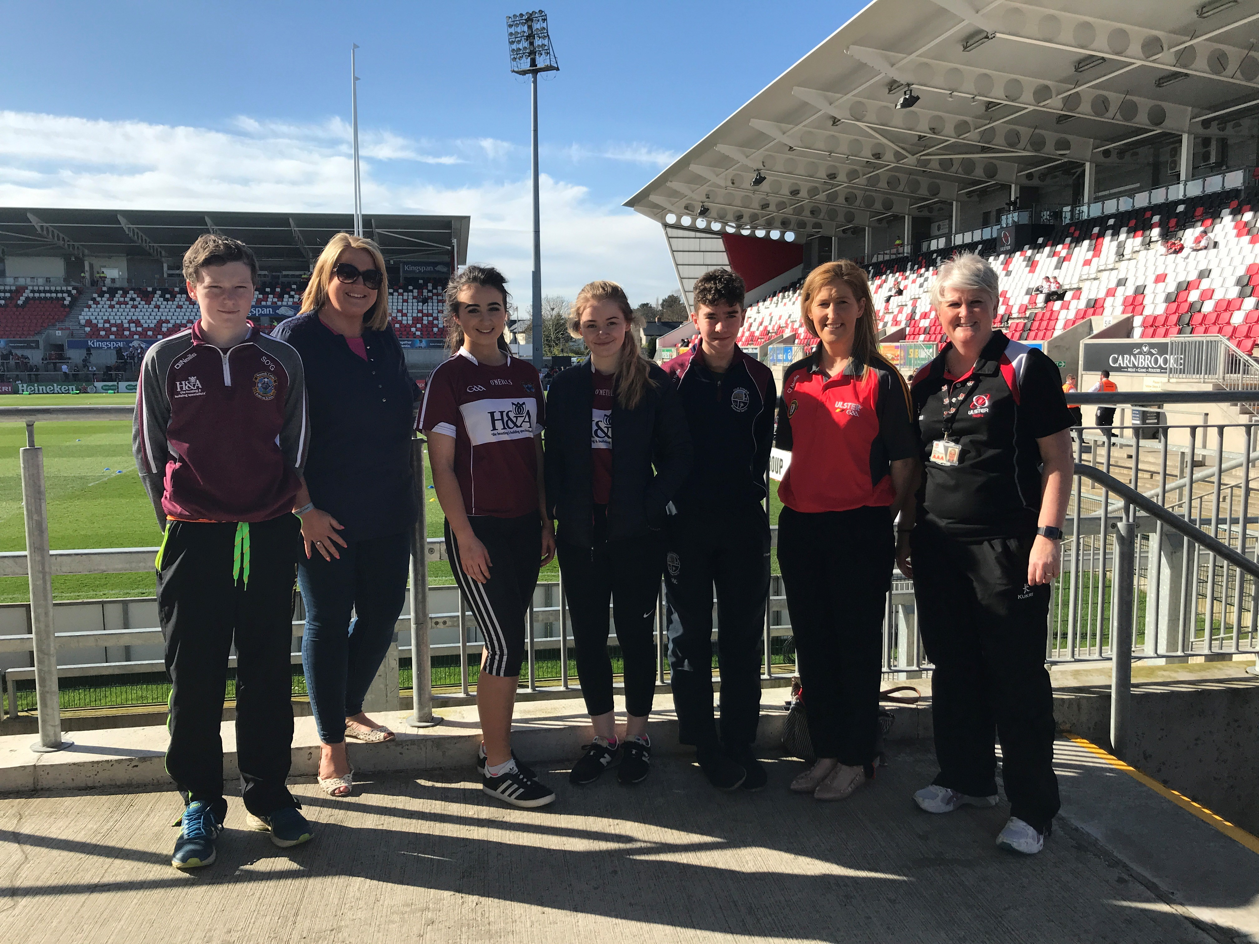 Young GAA Volunteers go behind the scenes at an Ulster Rugby game