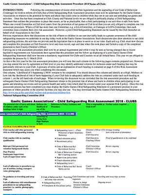 Risk Assessment Clubs February 2018