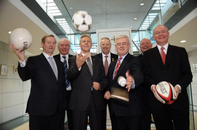 Taoiseach Enda Kenny, Peter Robinson, First Minister MLA, Eamon Gilmore T.D. Tanaiste and Minister for Foreign Affairs & Trade and Martin McGuinness, Deputy First Minister MLA with Jim Shaw, President Irish Football Association, Martin McAviney, President Ulster GAA and John Robinson, President Ulster Rugby at Sport & Reconciliation Conference hosted by Ulster GAA, Irish Football Association and IRFU Ulster Branch Market Place Theatre, Armagh, , 8 November 2013 Credit: LiamMcArdle.com