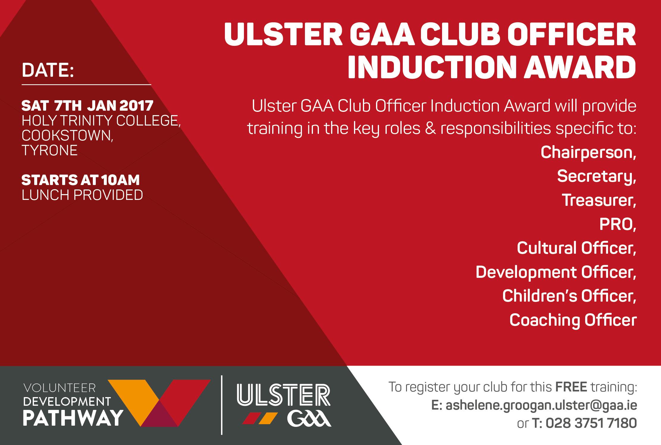 Ulster GAA Club Officer Induction Award