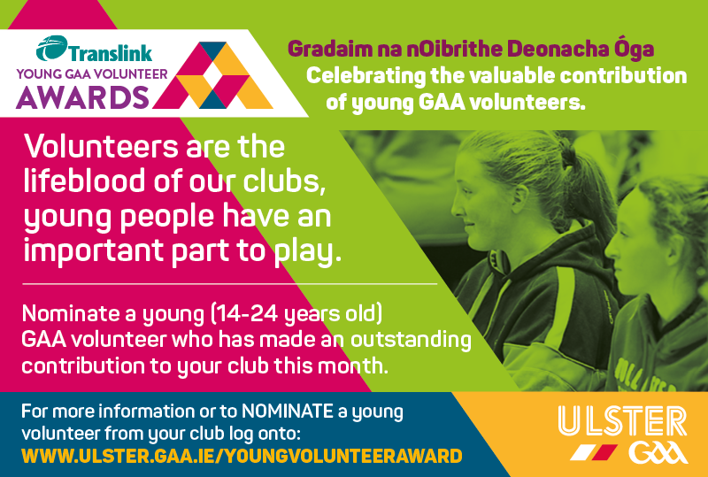 Nominate someone for the Translink Young GAA Volunteer Award