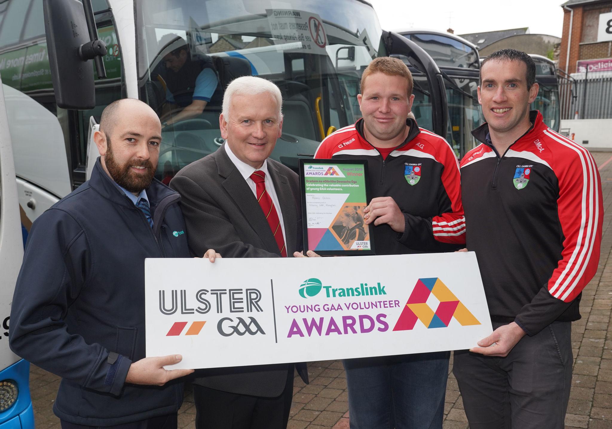 Young Killanny kit man lifts Translink Young GAA Volunteer August Award