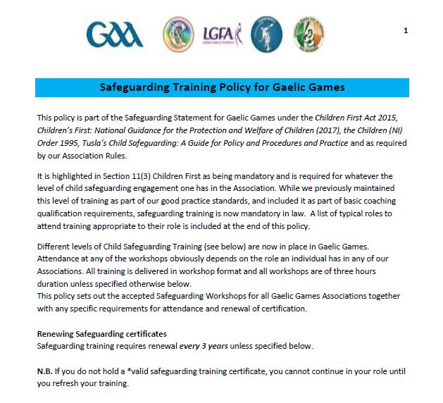 GAA Safeguarding Training Policy